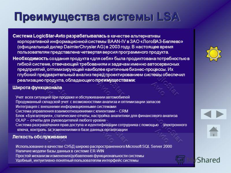 Преимущества системы LSA Система LogicStar-Avto разрабатывалась в качестве альтернативы корпоративной информационной системы BAAN-IV в ЗАО «ЛогоВАЗ-Беляево» (официальный дилер DaimlerChrysler AG) в 2003 году. В настоящее время пользователям представл