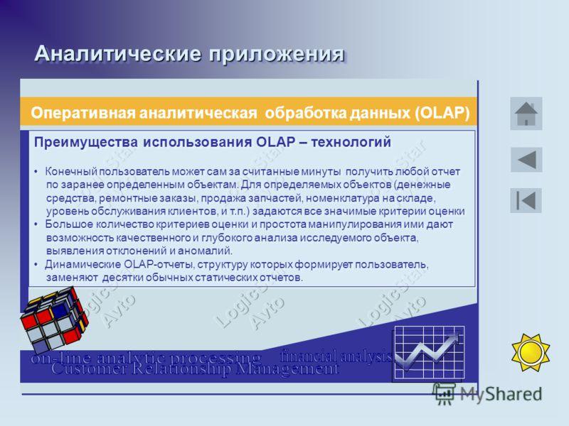 Аналитические приложения Оперативная аналитическая обработка данных (OLAP) Преимущества использования OLAP – технологий Конечный пользователь может сам за считанные минуты получить любой отчет по заранее определенным объектам. Для определяемых объект