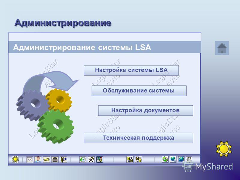 АдминистрированиеАдминистрирование Администрирование системы LSA Настройка системы LSA Настройка системы LSA Обслуживание системы Настройка документов Техническая поддержка