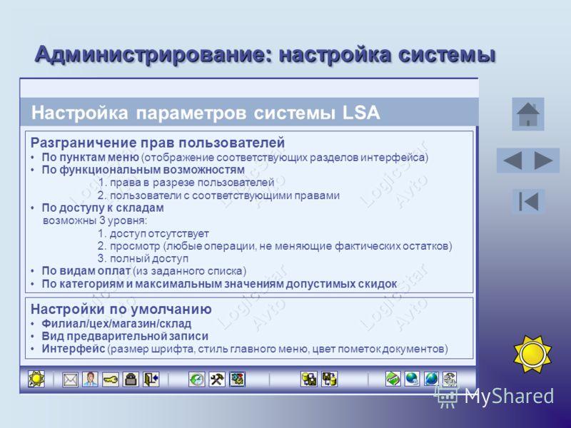Администрирование: настройка системы Настройка параметров системы LSA Разграничение прав пользователей По пунктам меню (отображение соответствующих разделов интерфейса) По функциональным возможностям 1. права в разрезе пользователей 2. пользователи с
