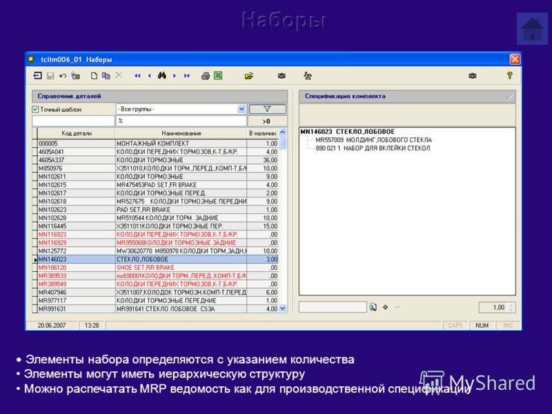 Элементы набора определяются с указанием количества Элементы могут иметь иерархическую структуру Можно распечатать MRP ведомость как для производственной спецификации
