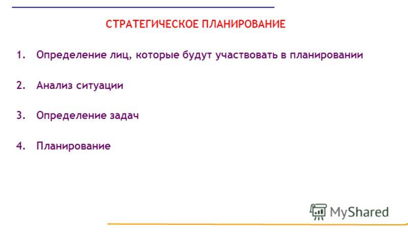 СТРАТЕГИЧЕСКОЕ ПЛАНИРОВАНИЕ 1.Определение лиц, которые будут участвовать в планировании 2.Анализ ситуации 3.Определение задач 4.Планирование