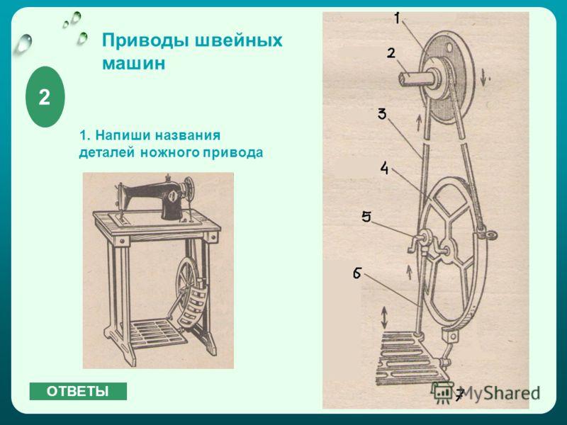 Приводы швейных машин 1. Напиши названия деталей ножного привода 2 ОТВЕТЫ