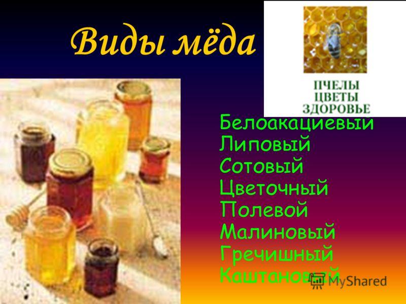 Виды мёда Белоакациевый Липовый Сотовый Цветочный Полевой Малиновый Гречишный Каштановый