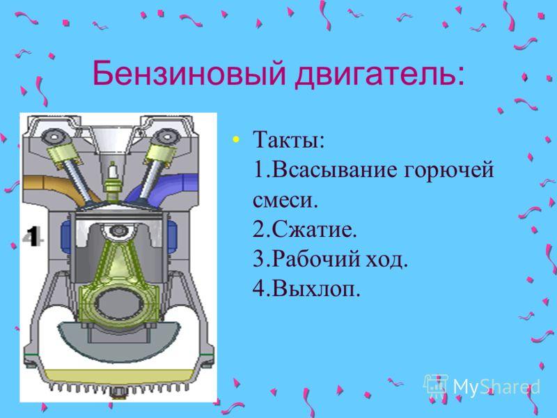 Бензиновый двигатель: Такты: 1.Всасывание горючей смеси. 2.Сжатие. 3.Рабочий ход. 4.Выхлоп.