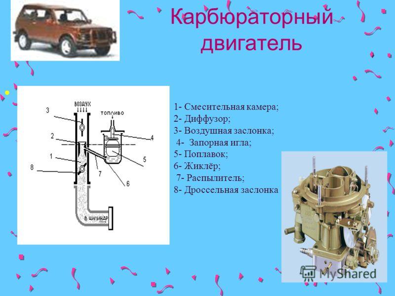 Карбюраторный двигатель. 1- Смесительная камера; 2- Диффузор; 3- Воздушная заслонка; 4- Запорная игла; 5- Поплавок; 6- Жиклёр; 7- Распылитель; 8- Дроссельная заслонка