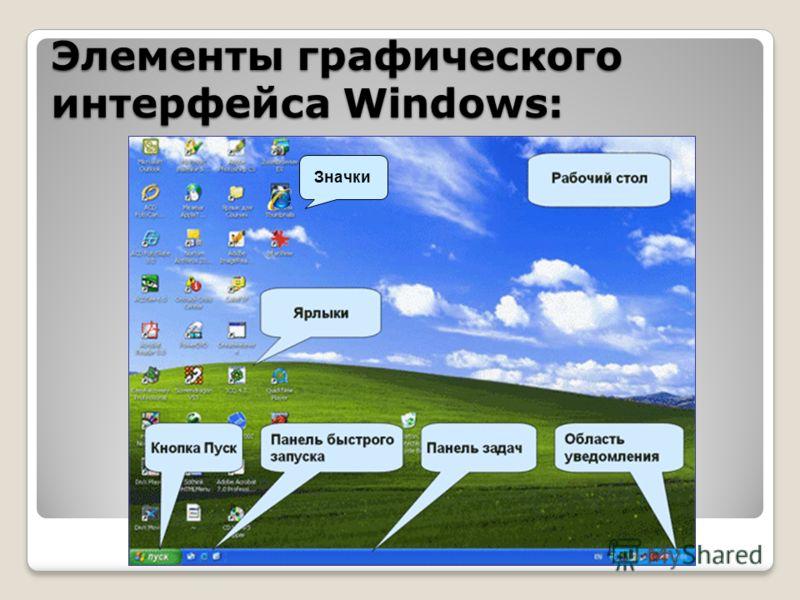 Элементы графического интерфейса Windows: Значки