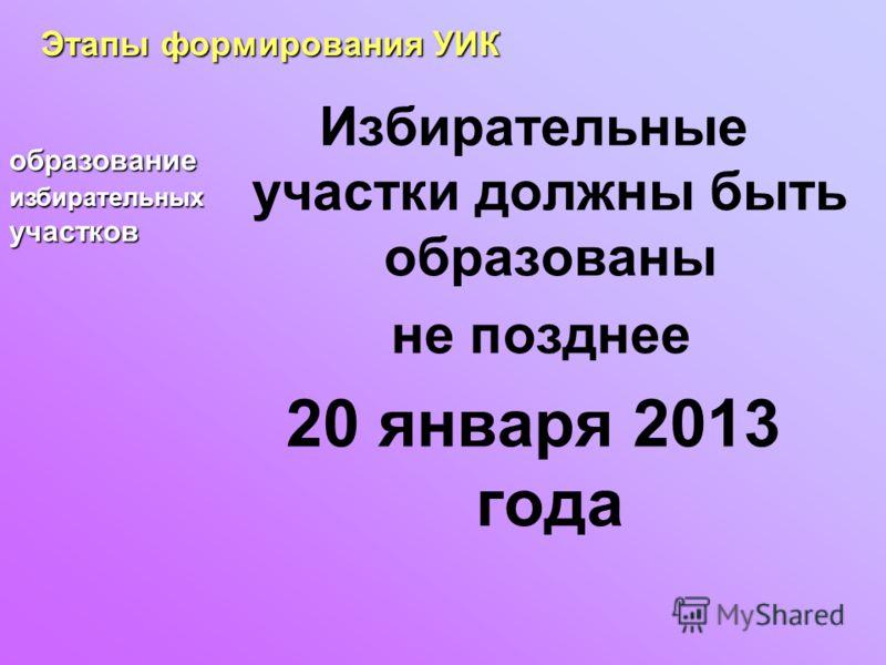 Избирательные участки должны быть образованы не позднее 20 января 2013 года Этапы формирования УИК образование избирательных участков