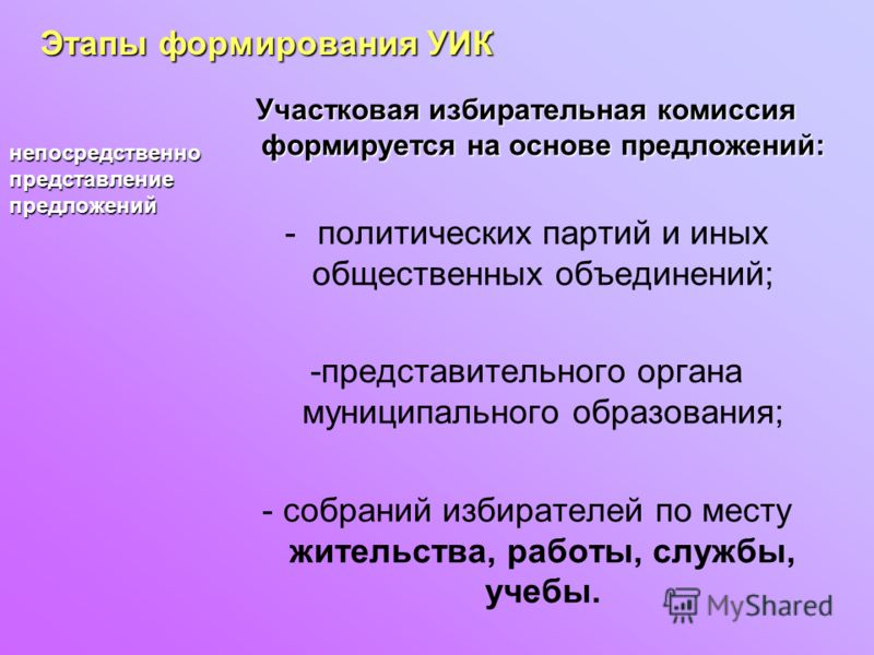 Участковая избирательная комиссия формируется на основе предложений: -политических партий и иных общественных объединений; -представительного органа муниципального образования; - собраний избирателей по месту жительства, работы, службы, учебы. Этапы