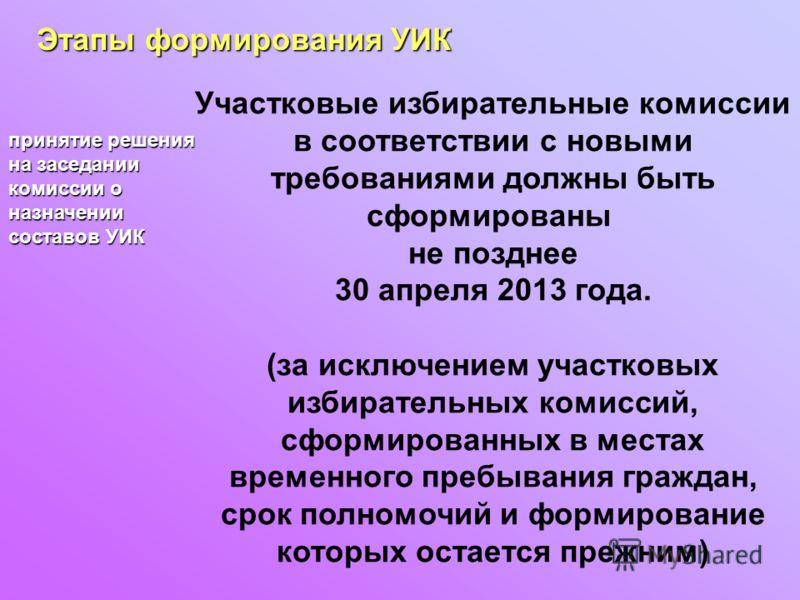 Этапы формирования УИК принятие решения на заседании комиссии о назначении составов УИК Участковые избирательные комиссии в соответствии с новыми требованиями должны быть сформированы не позднее 30 апреля 2013 года. (за исключением участковых избират
