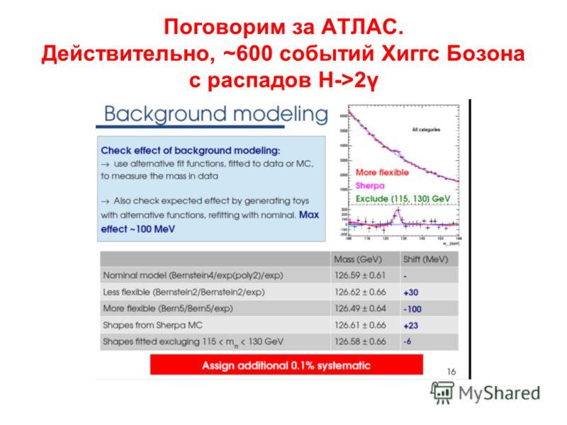 Поговорим за АТЛАС. Действительно, ~600 событий Хиггс Бозона с распадов H->2γ
