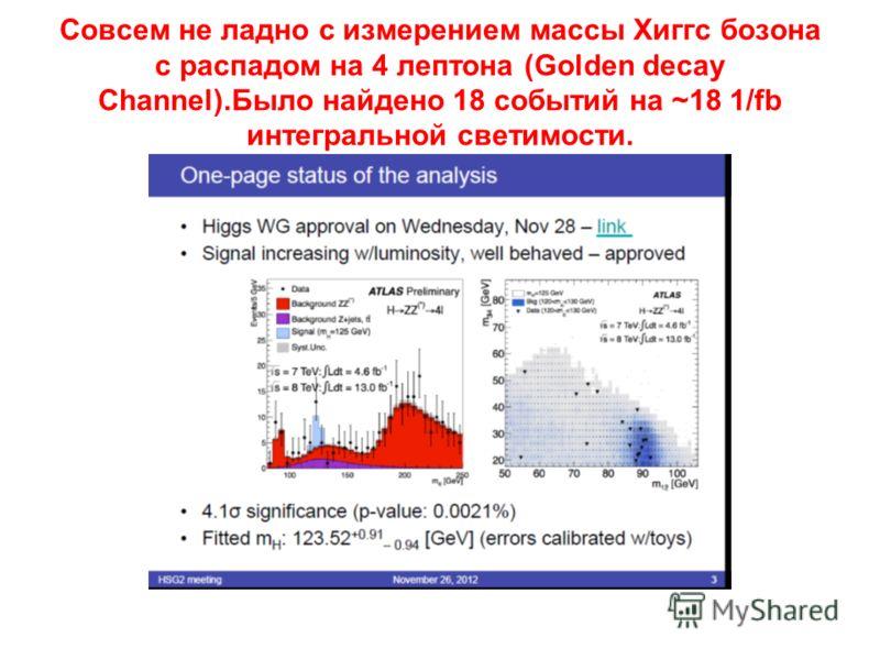 Совсем не ладно с измерением массы Хиггс бозона с распадом на 4 лептона (Golden decay Channel).Было найдено 18 событий на ~18 1/fb интегральной светимости.