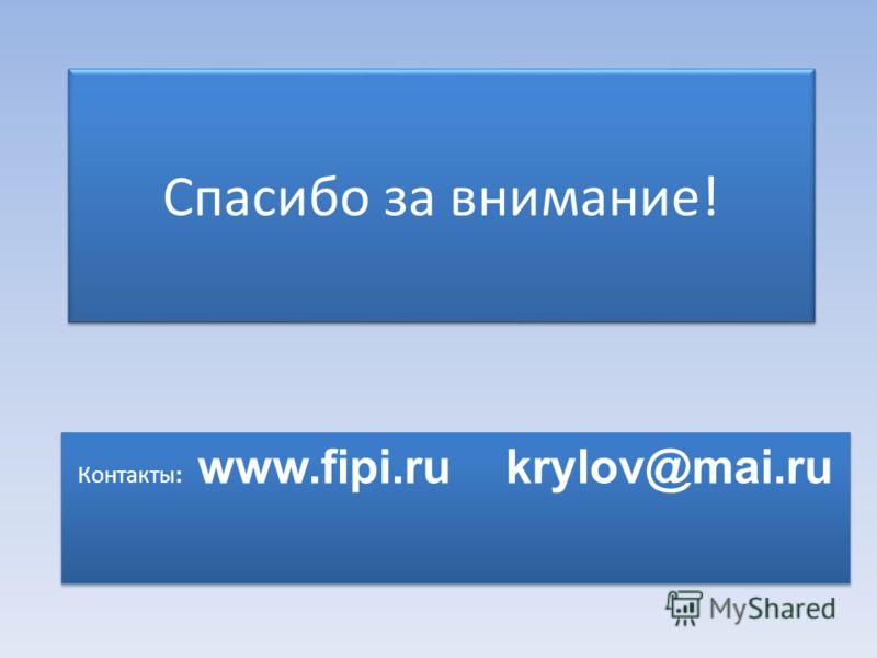 Спасибо за внимание! Контакты: www.fipi.ru krylov@mai.ru
