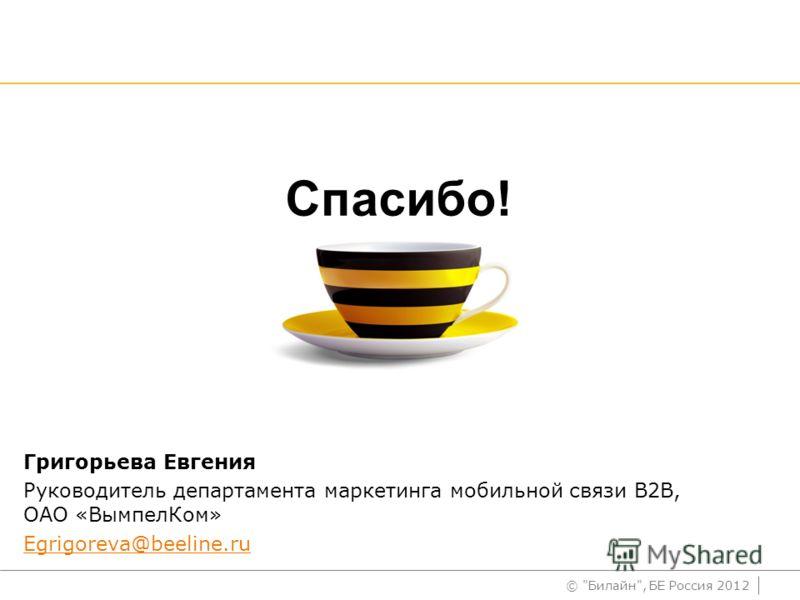 © Билайн, БЕ Россия 2012 Спасибо! Григорьева Евгения Руководитель департамента маркетинга мобильной связи В2В, ОАО «ВымпелКом» Egrigoreva@beeline.ru