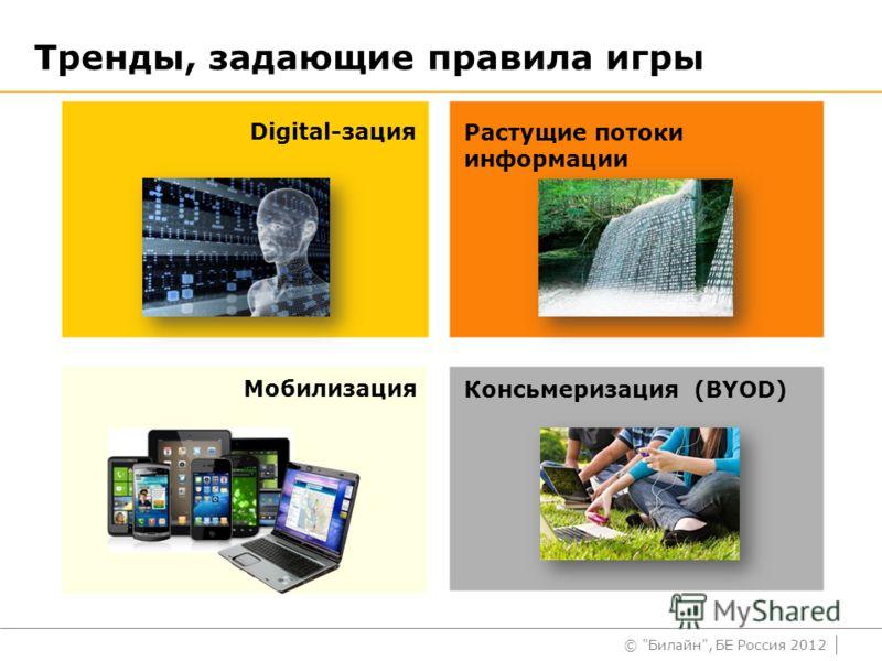 © Билайн, БЕ Россия 2012 Тренды, задающие правила игры Digital-зация Мобилизация Растущие потоки информации Консьмеризация (BYOD)