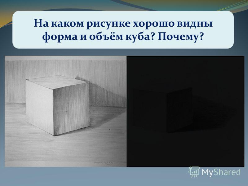 На каком рисунке хорошо видны форма и объём куба? Почему?