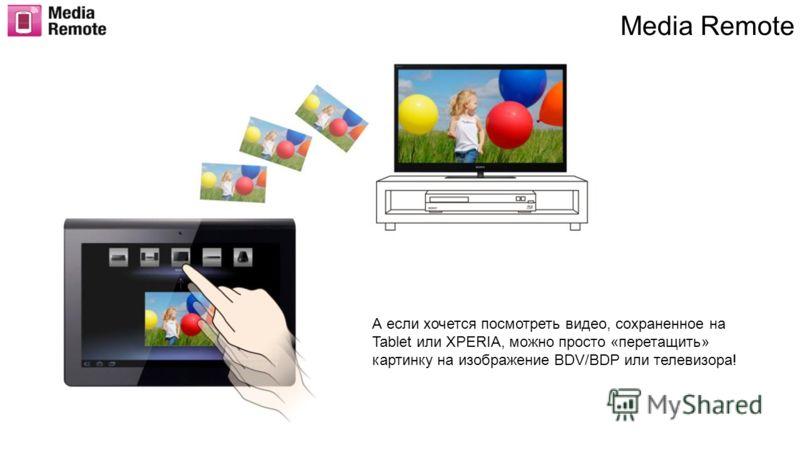 Media Remote А если хочется посмотреть видео, сохраненное на Tablet или XPERIA, можно просто «перетащить» картинку на изображение BDV/BDP или телевизора!