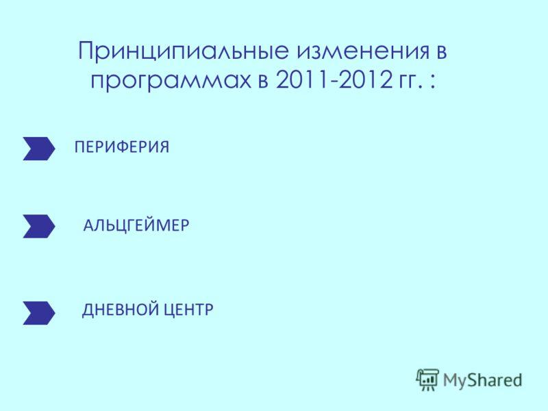 ПЕРИФЕРИЯ АЛЬЦГЕЙМЕР ДНЕВНОЙ ЦЕНТР Принципиальные изменения в программах в 2011-2012 гг. :