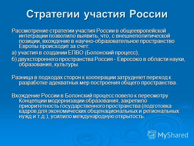 Стратегии участия России Рассмотрение стратегии участия России в общеевропейской интеграции позволило выявить, что, с внешнеполитической позиции, вхождение в научно-образовательное пространство Европы происходит за счет: а) участия в создании ЕПВО (Б