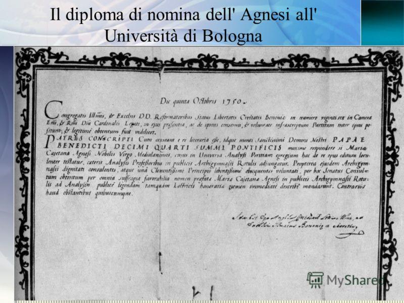 Il diploma di nomina dell' Agnesi all' Università di Bologna