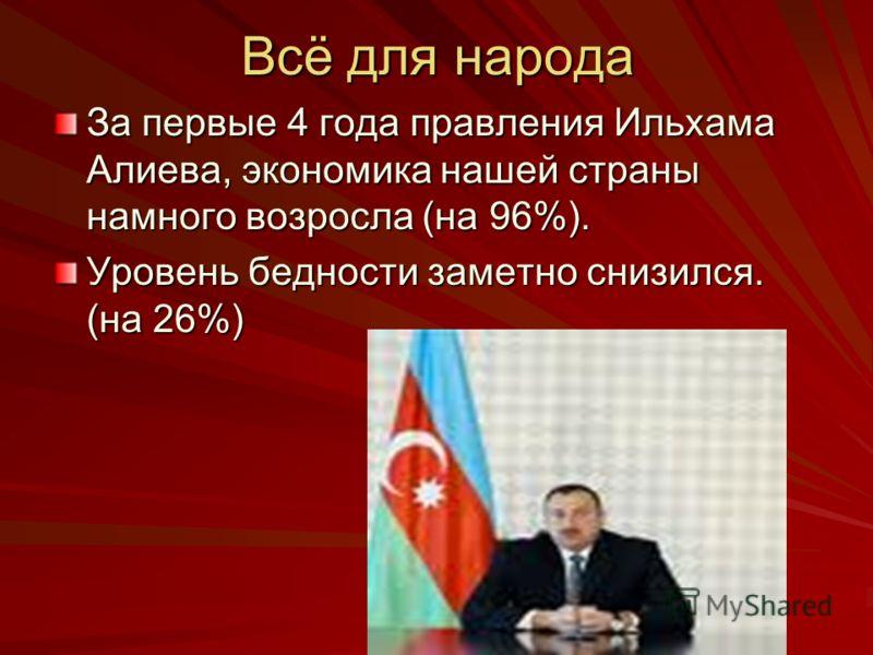 Всё для народа За первые 4 года правления Ильхама Алиева, экономика нашей страны намного возросла (на 96%). Уровень бедности заметно снизился. (на 26%)
