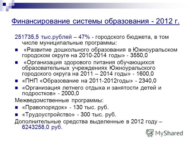 Финансирование системы образования - 2012 г. 251735,5 тыс.рублей – 47% - городского бюджета, в том числе муниципальные программы: «Развитие дошкольного образования в Южноуральском городском округе на 2010-2014 годы» - 3550,0 «Организация здорового пи