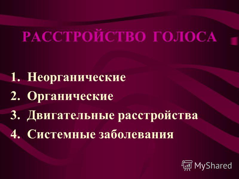 РАССТРОЙСТВО ГОЛОСА 1. Неорганические 2. Органические 3. Двигательные расстройства 4. Системные заболевания