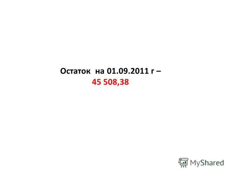 Остаток на 01.09.2011 г – 45 508,38