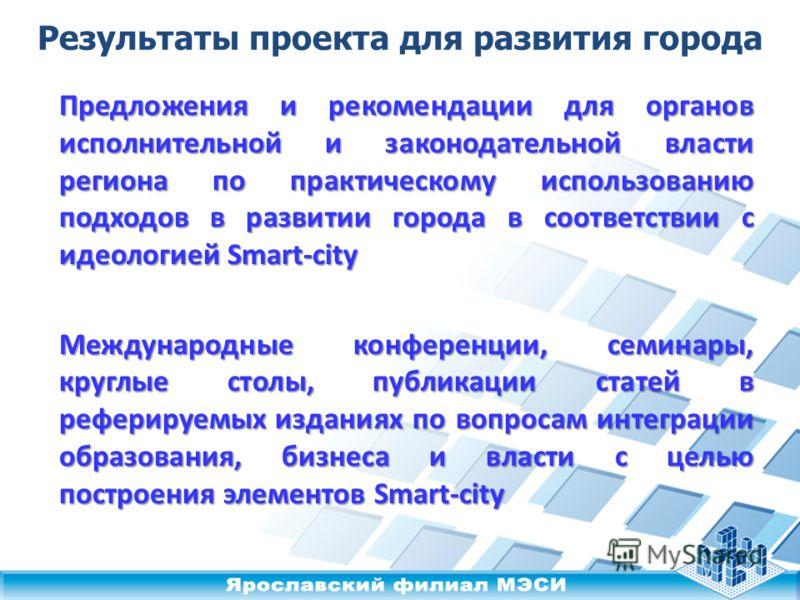 Предложения и рекомендации для органов исполнительной и законодательной власти региона по практическому использованию подходов в развитии города в соответствии с идеологией Smart-city Международные конференции, семинары, круглые столы, публикации ста