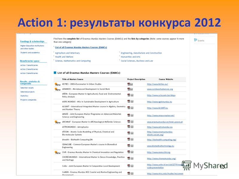 13 Action 1: результаты конкурса 2012