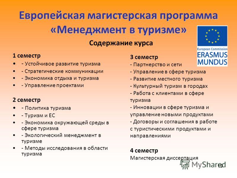 19 Европейская магистерская программа «Менеджмент в туризме» 1 семестр - Устойчивое развитие туризма - Стратегические коммуникации - Экономика отдыха и туризма - Управление проектами 2 семестр - Политика туризма - Туризм и ЕС - Экономика окружающей с