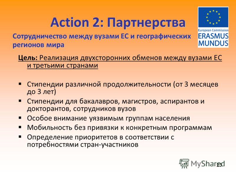 23 Action 2: Партнерства Цель: Реализация двухсторонних обменов между вузами ЕС и третьими странами Стипендии различной продолжительности (от 3 месяцев до 3 лет) Стипендии для бакалавров, магистров, аспирантов и докторантов, сотрудников вузов Особое