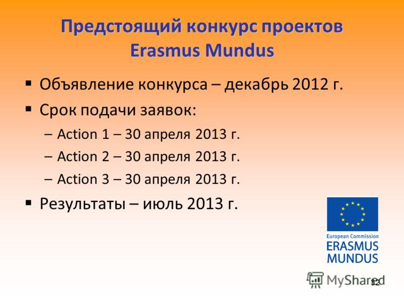 32 Предстоящий конкурс проектов Erasmus Mundus Объявление конкурса – декабрь 2012 г. Срок подачи заявок: –Action 1 – 30 апреля 2013 г. –Action 2 – 30 апреля 2013 г. –Action 3 – 30 апреля 2013 г. Результаты – июль 2013 г.