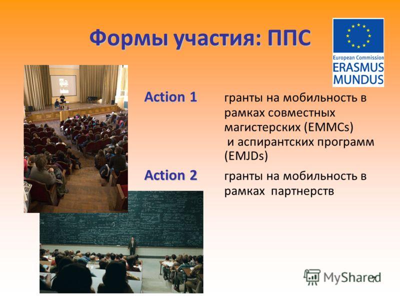 7 Формы участия: ППС Action 1 Action 1 гранты на мобильность в рамках совместных магистерских (EMMCs) и аспирантских программ (EMJDs) Action 2 Action 2 гранты на мобильность в рамках партнерств