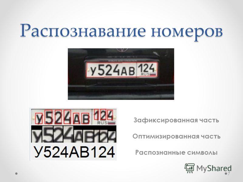 Распознавание номеров 7 Зафиксированная часть Оптимизированная часть Распознанные символы