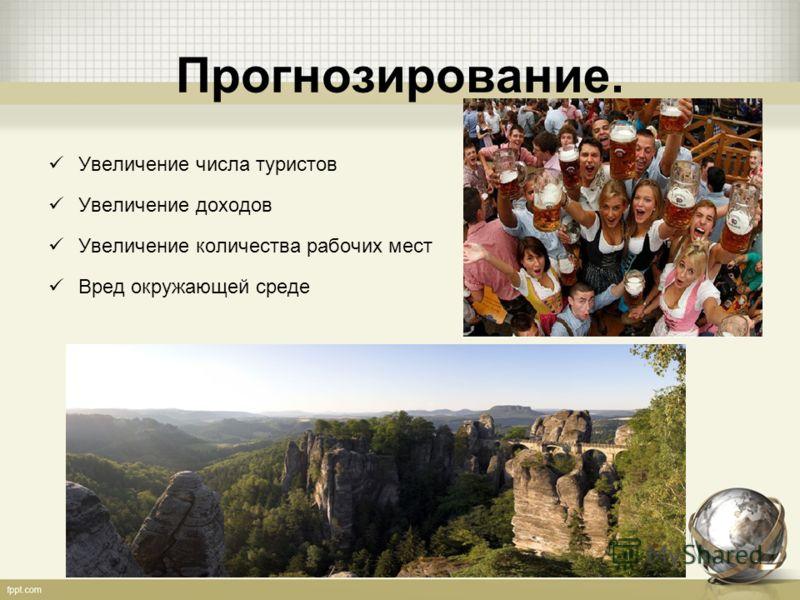 Прогнозирование. Увеличение числа туристов Увеличение доходов Увеличение количества рабочих мест Вред окружающей среде