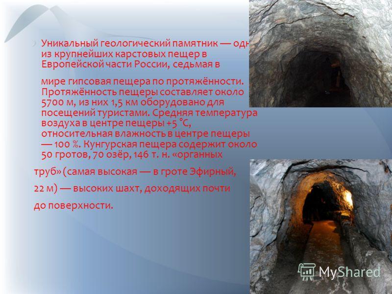 Уникальный геологический памятник одна из крупнейших карстовых пещер в Европейской части России, седьмая в мире гипсовая пещера по протяжённости. Протяжённость пещеры составляет около 5700 м, из них 1,5 км оборудовано для посещений туристами. Средняя