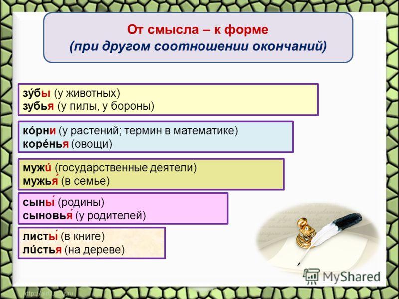 От смысла – к форме (при другом соотношении окончаний) кóрни (у растений; термин в математике) корéнья (овощи) листы́ (в книге) лúстья (на дереве) мужú (государственные деятели) мужья́ (в семье) сыны́ (родины) сыновья́ (у родителей) зýбы (у животных)