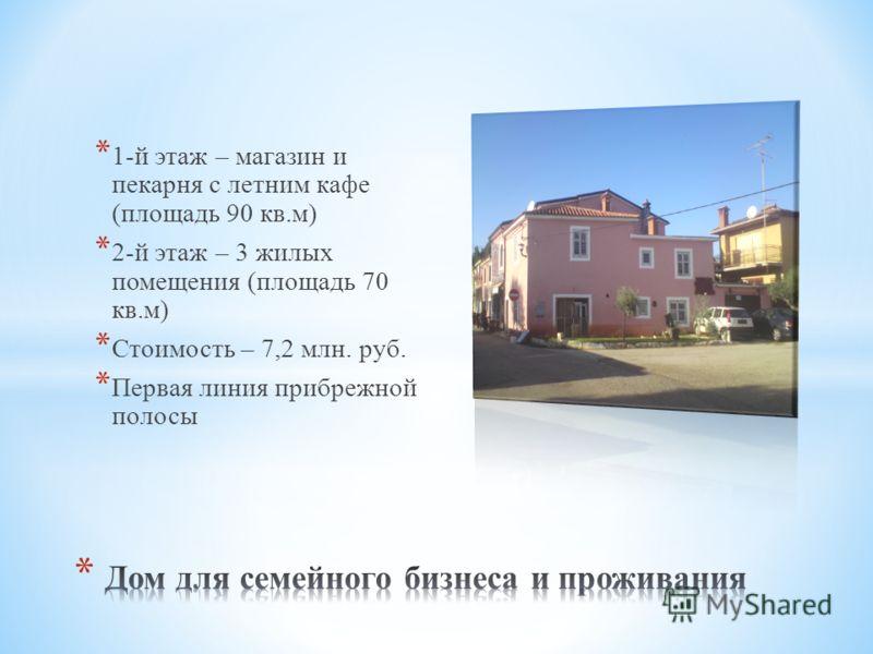 * 1-й этаж – магазин и пекарня с летним кафе (площадь 90 кв.м) * 2-й этаж – 3 жилых помещения (площадь 70 кв.м) * Стоимость – 7,2 млн. руб. * Первая линия прибрежной полосы