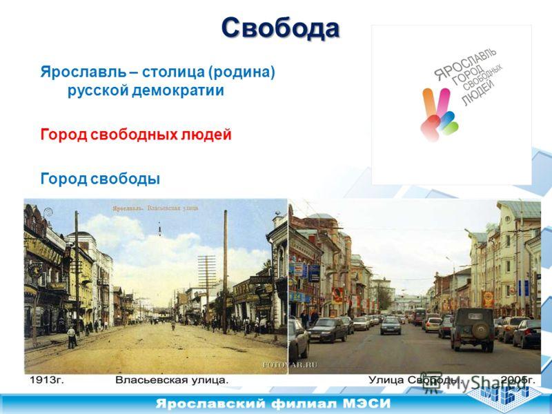 Свобода Ярославль – столица (родина) русской демократии Город свободных людей Город свободы