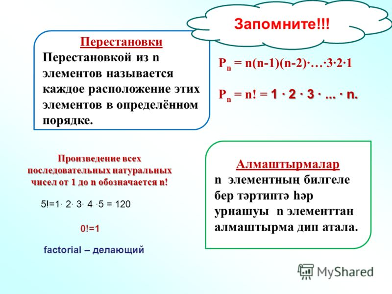 P n = n(n-1)(n-2)…321 1 · 2 · 3 ·... · n. P n = n! = 1 · 2 · 3 ·... · n. Перестановки Перестановкой из n элементов называется каждое расположение этих элементов в определённом порядке. Алмаштырмалар n элементның билгеле бер тәртиптә һәр урнашуы n эле