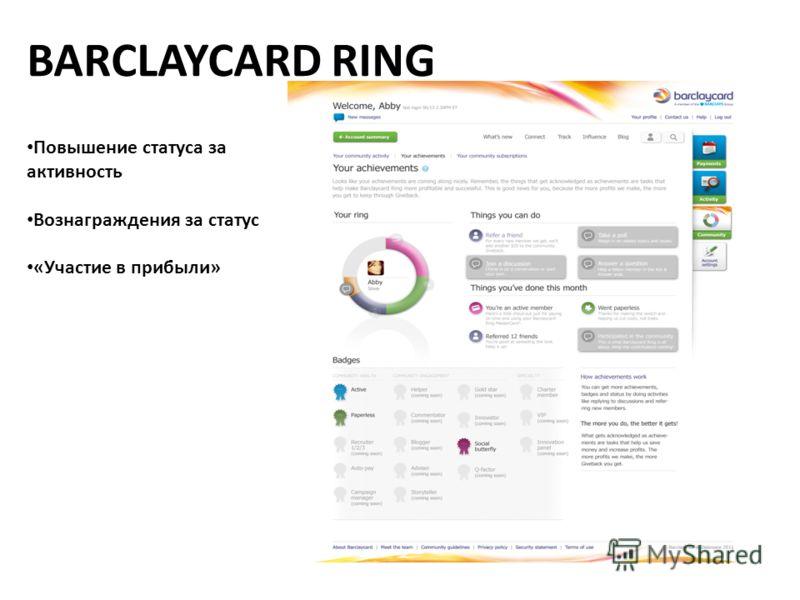BARCLAYCARD RING Повышение статуса за активность Вознаграждения за статус «Участие в прибыли»
