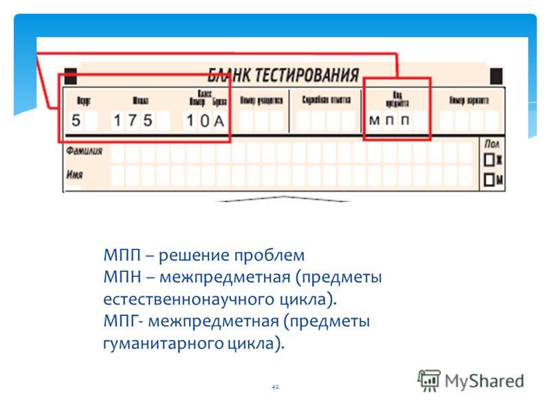 42 МПП – решение проблем МПН – межпредметная (предметы естественнонаучного цикла). МПГ- межпредметная (предметы гуманитарного цикла).