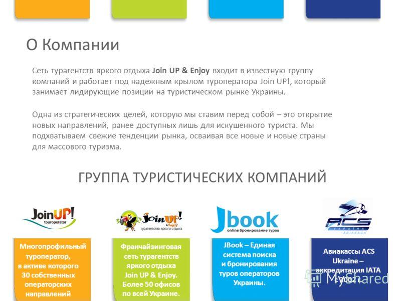 О Компании Сеть турагентств яркого отдыха Join UP & Enjoy входит в известную группу компаний и работает под надежным крылом туроператора Join UP!, который занимает лидирующие позиции на туристическом рынке Украины. ГРУППА ТУРИСТИЧЕСКИХ КОМПАНИЙ Авиак