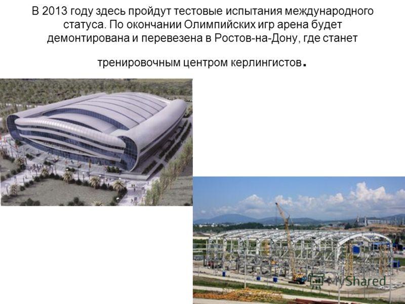 В 2013 году здесь пройдут тестовые испытания международного статуса. По окончании Олимпийских игр арена будет демонтирована и перевезена в Ростов-на-Дону, где станет тренировочным центром керлингистов.