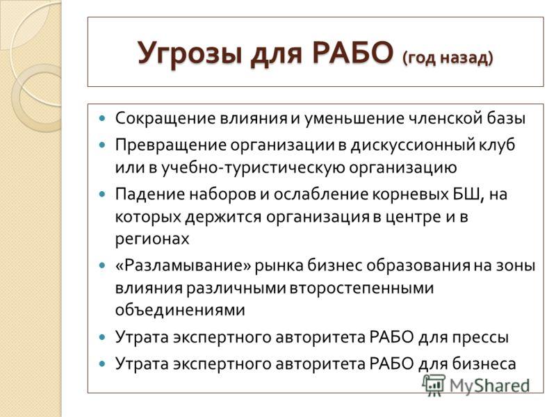 Угрозы для РАБО ( год назад ) Сокращение влияния и уменьшение членской базы Превращение организации в дискуссионный клуб или в учебно - туристическую организацию Падение наборов и ослабление корневых БШ, на которых держится организация в центре и в р