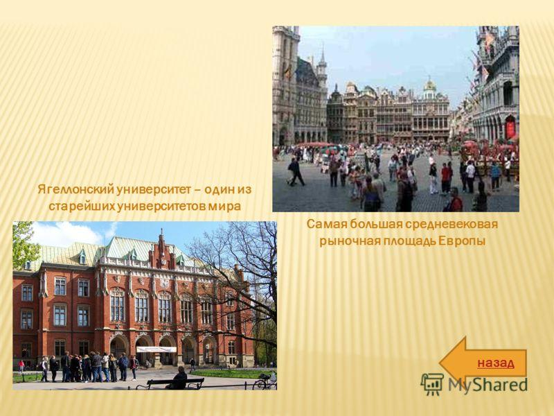 Самая большая средневековая рыночная площадь Европы Ягеллонский университет – один из старейших университетов мира назад