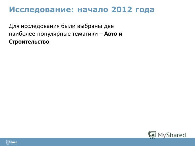 Исследование: начало 2012 года Для исследования были выбраны две наиболее популярные тематики – Авто и Строительство