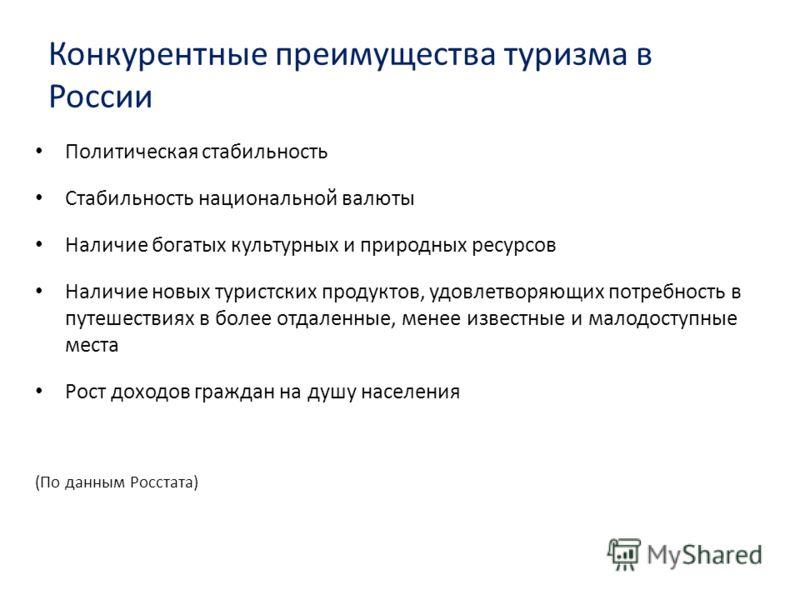 Конкурентные преимущества туризма в России Политическая стабильность Стабильность национальной валюты Наличие богатых культурных и природных ресурсов Наличие новых туристских продуктов, удовлетворяющих потребность в путешествиях в более отдаленные, м