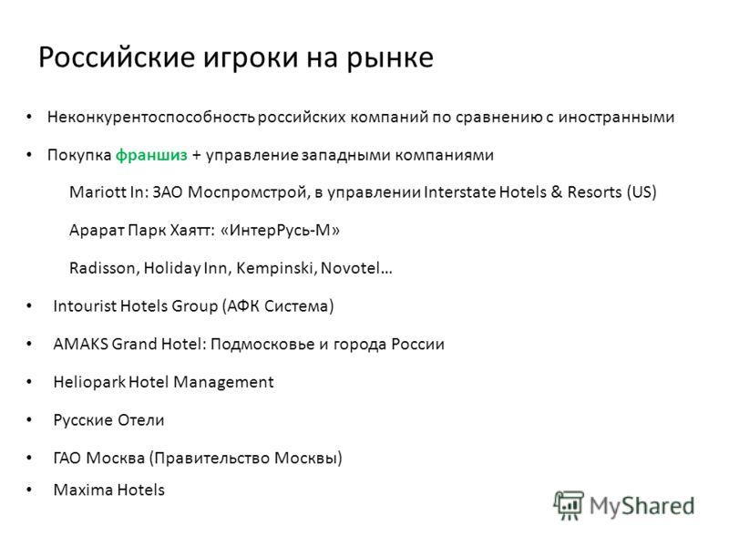 Российские игроки на рынке Неконкурентоспособность российских компаний по сравнению с иностранными Покупка франшиз + управление западными компаниями Mariott In: ЗАО Моспромстрой, в управлении Interstate Hotels & Resorts (US) Арарат Парк Хаятт: «Интер